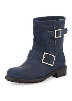 Youth Short Suede Biker Boot, Blue Gray   Youth Short Suede Biker Boot, Blue Gray