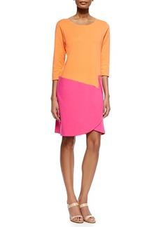 Joan Vass 3/4-Sleeve Colorblock Dress, Fuchsia/Coral, Petite