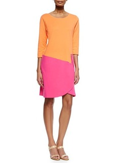 Joan Vass 3/4-Sleeve Colorblock Dress, Fuchsia/Coral, Women's