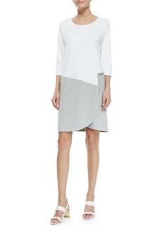 Joan Vass 3/4-Sleeve Colorblock Dress, White/Heather Gray, Women's
