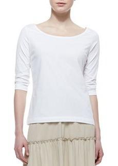 Joan Vass 3/4-Sleeve Cotton Top