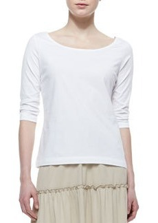 Joan Vass 3/4-Sleeve Knit Top, White, Women's