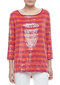 Joan Vass 3/4-Sleeve Sequin-Front Striped Tunic, Petite