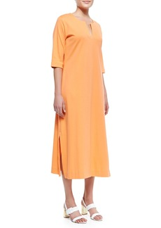 Joan Vass 3/4-Sleeve Split-Neck Long Dress