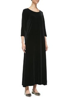 Joan Vass 3/4-Sleeve Velour Long Dress, Black