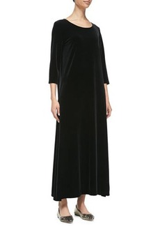 Joan Vass 3/4-Sleeve Velour Long Dress, Black