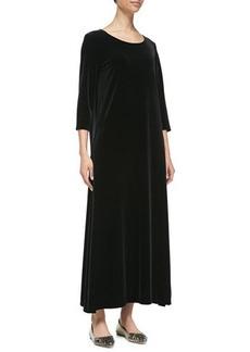 Joan Vass 3/4-Sleeve Velour Long Dress, Black, Women's