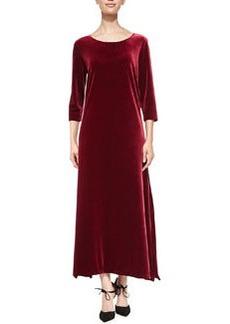 Joan Vass 3/4-Sleeve Velour Long Dress, Women's