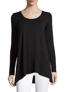 Joan Vass A-Line Long-Sleeve Scoop-Neck Top, Black