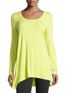 Joan Vass A-Line Long-Sleeve Scoop-Neck Top, Lime Pop