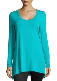 Joan Vass A-Line Long-Sleeve Scoop-Neck Top, Turquoise