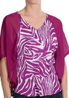 Joan Vass Animal Print Flounce Blouse - 3/4 Batwing Sleeve (For Women)