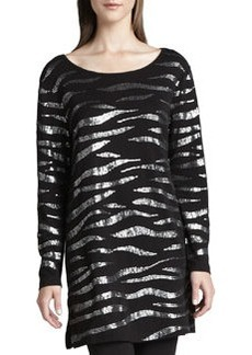 Joan Vass Animal Sequined Tunic, Petite