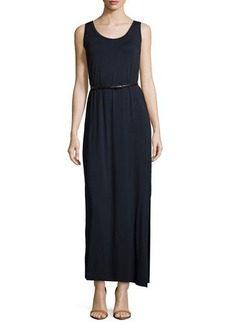 Joan Vass Belted Scoop-Neck Tank Maxi Dress