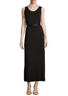 Joan Vass Belted Scoop-Neck Tank Maxi Dress, Black