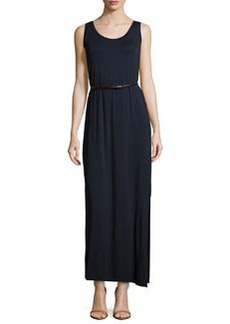 Joan Vass Belted Scoop-Neck Tank Maxi Dress, Dark Royal