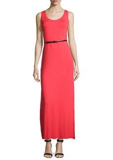 Joan Vass Belted Scoop-Neck Tank Maxi Dress, Samba Red
