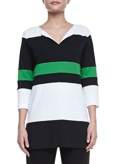 Joan Vass Bold Striped Easy Tunic, Petite