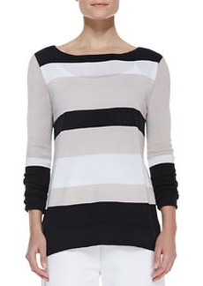 Joan Vass Bold-Striped Knit Easy Tunic, Petite