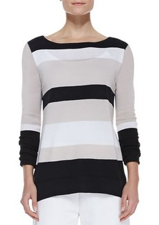 Joan Vass Bold-Striped Knit Easy Tunic, Petite