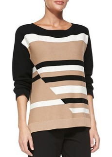 Joan Vass Broken Stripe Sweater, Petite