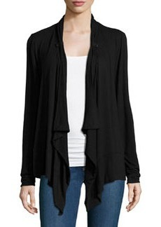 Joan Vass Button-Tab Cascade Cardigan, Black