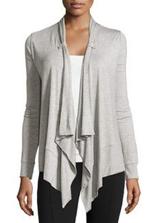 Joan Vass Button-Tab Cascade Cardigan, City Gray