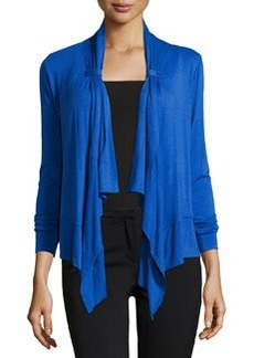 Joan Vass Button-Tab Cascade Cardigan, Illuminating Blue