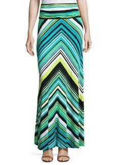 Joan Vass Chevron Shirred-Waist Maxi Skirt, Teal/Lime/Multi