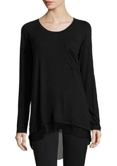 Joan Vass Chiffon-Back Long-Sleeve Top, Black