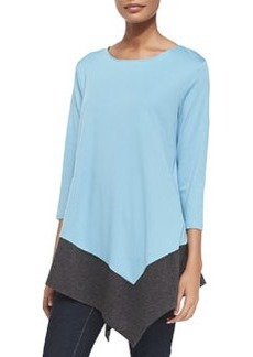 Joan Vass Colorblock Asymmetric Knit Tunic