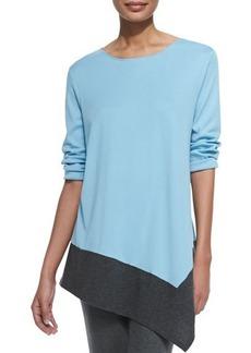 Joan Vass Colorblock Asymmetric Knit Tunic, Petite