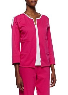 Joan Vass Contrast-Trim Zip-Front Jacket, Petite
