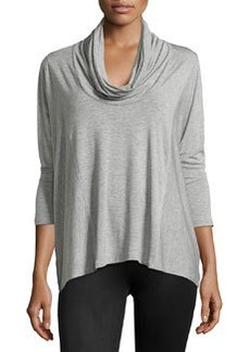 Joan Vass Cowl-Neck Dolman-Sleeve Top, Mist Gray