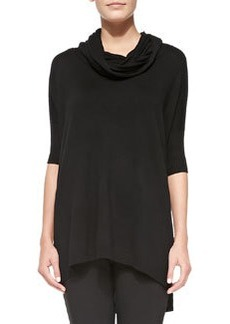 Joan Vass Cowl-Neck Silk-Cashmere Tunic, Black