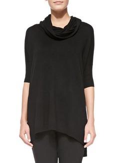 Joan Vass Cowl-Neck Silk-Cashmere Tunic, Black, Women's