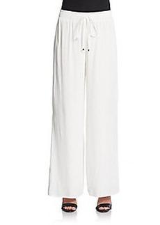 Joan Vass Crepe Wide-Leg Pants