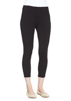 Joan Vass Cropped Stretch-Jersey Leggings, Black