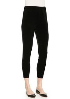 Joan Vass Cropped Velour Leggings, Black, Petite