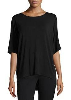 Joan Vass Dolman-Sleeve High-Low Top, Black