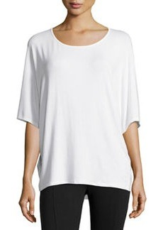 Joan Vass Dolman-Sleeve High-Low Top, White