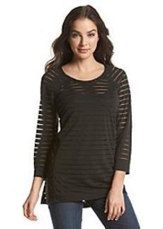 Joan Vass® Dolman Sleeve Shadow Stripe Top