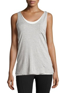 Joan Vass Double-Layer Chest-Pocket Tank