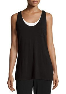 Joan Vass Double-Layer Chest-Pocket Tank, Black