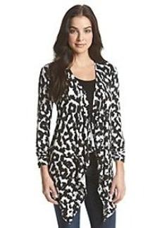 Joan Vass® Drape Front Animal Print Cardigan