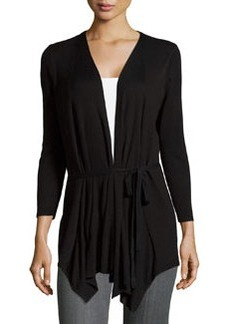 Joan Vass Draped 3/4-Sleeve Cardigan, Black