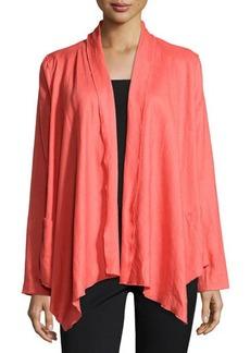 Joan Vass Draped-Front Open Jacket