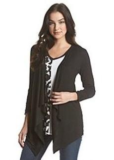 Joan Vass® Draped Front Solid Cardigan