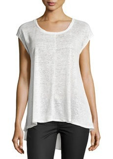 Joan Vass Drop-Shoulder Scoop-Neck Tee, Crescent Ivory
