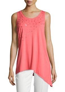 Joan Vass Embellished Sleeveless Asymmetric Blouse, Coral Sunrise